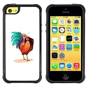 LASTONE PHONE CASE / Suave Silicona Caso Carcasa de Caucho Funda para Apple Iphone 5C / Rooster Colorful Art Blue Big Tail Drawing