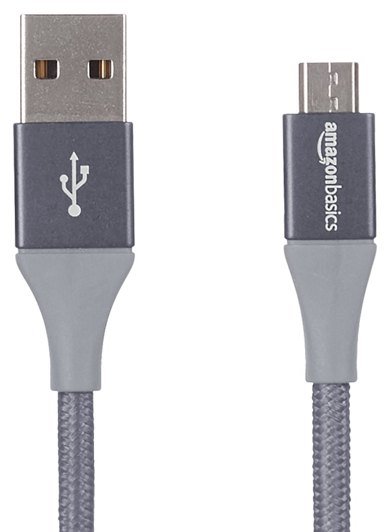 AmazonBasics Double Braided Nylon USB 2.0 A to Micro B Cable | 6 Feet, Dark Grey
