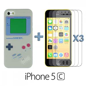 OnlineBestDigital - Apple iPhone 5C Gameboy Style Silicone Skin Case / Cover / Shell - Grey with 3 Screen Protector