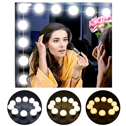 OYOZ Hollywood Style LED Vanity Mirror Lights Kits with 10 Dimmable Light Bulbs, 10 Level Brightness and 3 Dimmable Colors Modes Makeup Mirror Lights for Bathroom, Makeup Dressing Table