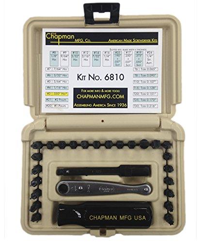 Chapman MFG 6810DT Kit USA Made Allen Hex Kit + Torx/Star Bits Screwdriver Tools Set