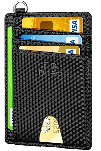 (FurArt Slim Minimalist Wallet, Front Pocket Wallets, RFID Blocking, Credit Card Holder with Disassembly D-Shackle)