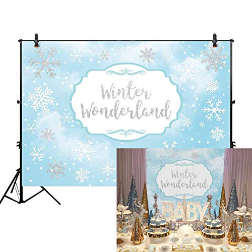 Allenjoy 7x5ft Winter Wonderland Theme Backdrop for Girl Sweet 16 Sixteen 1st Birthday Party Banner Festival Sky Blue White Snowfall Background Girl's Christmas Princess Baby Shower -