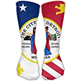 Mans Flag Of Detroit Cotton Long Sock Personalized High Athletic Sock
