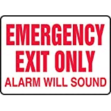 """Accuform Signs MEXT551VS Adhesive Vinyl Safety Sign, Legend """"EMERGENCY EXIT ONLY ALARM WILL SOUND"""", 7"""" Length x 10"""" Width x 0.004"""" Thickness, Red on White"""