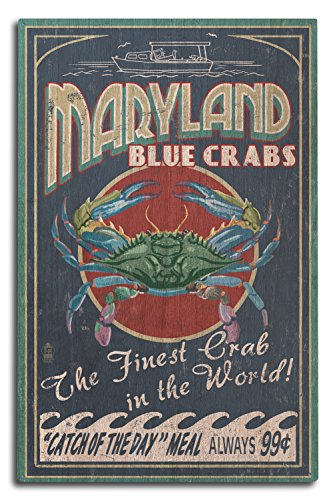 Lantern Press Maryland - Blue Crabs Vintage Sign (10x15 Wood Wall Sign, Wall Decor Ready to Hang)