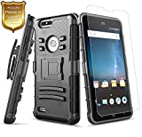 zte zmax swivel clip - NageBee [Heavy Duty] Armor Shock Proof [Swivel Belt Clip] Holster [Kickstand] Combo Rugged Case with [Tempered Glass Screen Protector] For ZTE Blade Z MAX, ZTE Sequoia (Z982), ZTE Zmax Pro 2 -Black