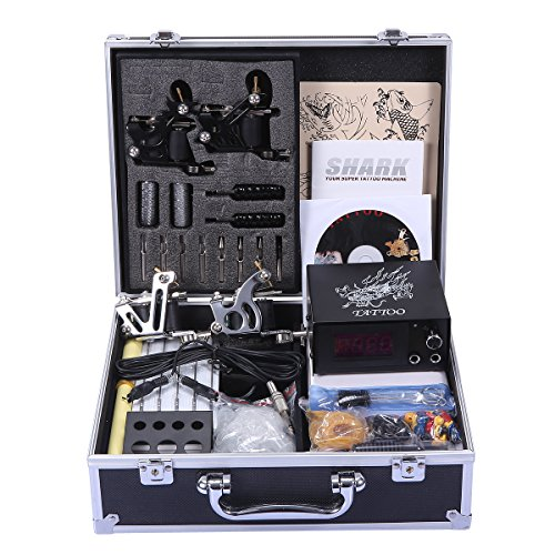 Shark Professional Tattoo Kit 4 Machines Gun Carry Case With Key Power Supply Needles Grips - Shark Lcd