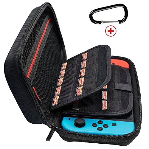 JABARY Nintendo Switch Case with 20 Game Holder Hard Shell Travel Carrying Case Protective Storage Bag Pouch for Nintendo Switch Console Accessories Black