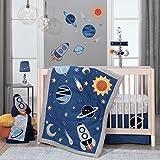 Lambs & Ivy Milky Way Space Galaxy 4-Piece Baby Crib Bedding Set - Blue/Gray Boy