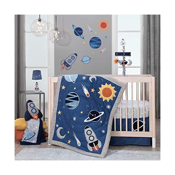 Lambs & Ivy Milky Way Space Galaxy 4-Piece Baby Nursery Crib Bedding Set – Blue/Gray