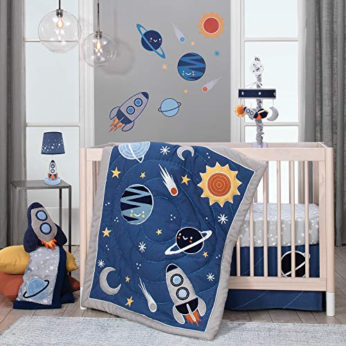 Lambs & Ivy Milky Way Space Galaxy 4-Piece Baby Crib Bedding Set - Blue/Gray Boy