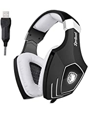 SADES A70 7.1 Surround Sound Stéréo Casque d'écoute Casque Gaming headset Casque avec microphone HiFi USB Plug Control Remote Cool Respiration LED Lights (Blanc)