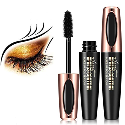 Natural 4D Silk Fiber Lash Mascara, Lengthening and Thick,fiber mascara, Long Lasting, waterproof mascara, All Day Exquisitely Lush, Full, Long, Thick, Smudge-Proof Eyelashes (Black)