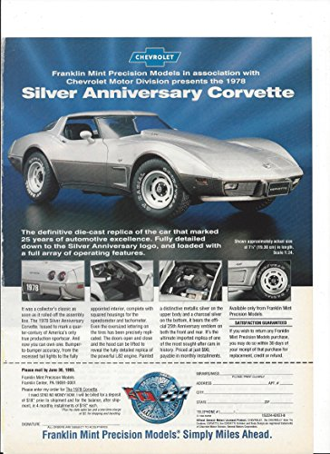 MAGAZINE ADVERTISEMENT For Franklin Mint Silver Annivrsary Corvette Cars (Mint Franklin Cars Collectible)