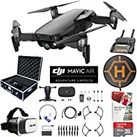 DJI Mavic Air (Onyx Black) Drone Combo 4K Wi-Fi Quadcopter with Remote Controller Pro Photo Edit Bundle With Hard Case VR Goggles Landing Pad 32GB Memory Card 16GB Drive And Corel Pro X9