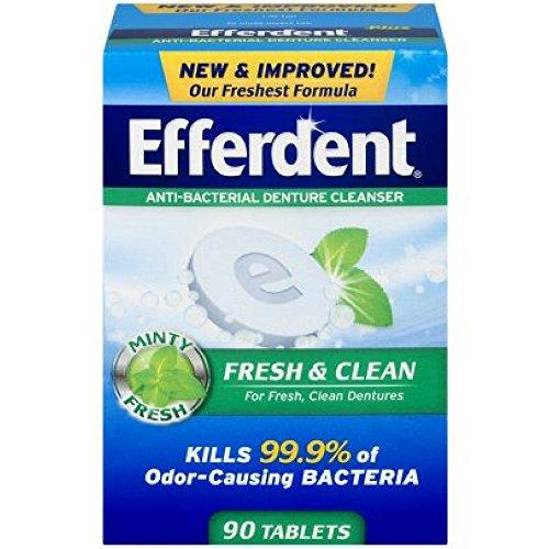 Denture Plus Tablets Cleanser Efferdent (Efferdent Plus Mint Denture Cleanser Tablets 90 ea)