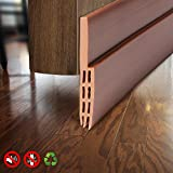 Under Door Draft Blocker Door Seal Insulation Door Threshold Cover Weatherstripping for Door Bottom, Guard Sweep Door Draft Stopper, Winter Stripping Door Seal Blocker, 2'' W x 39'' L, Brown