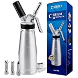 UPGRADED All Metal Whipped Cream Dispenser by ZOEMO - Reinforced Leak-Free Cream Whipper w/Durable Metal Body & Head, 3 Stainless Steel Decorating Tips - 1 Pint Canister Cream Maker