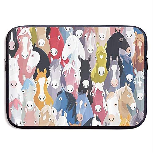 Colourful Cartoon Horses Pony Childhood Pattern 13/15 Inch Laptop Sleeve Bag for MacBook Air 11 13 15 Pro 13.3 15.4 Portable Zipper Laptop Bag Tablet Bag, Water Resistant, Black
