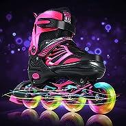Inline Skates with Light Up Wheels Adjustable Size Outdoor Roller Skates Blades for Adults Women Men Kids Girl