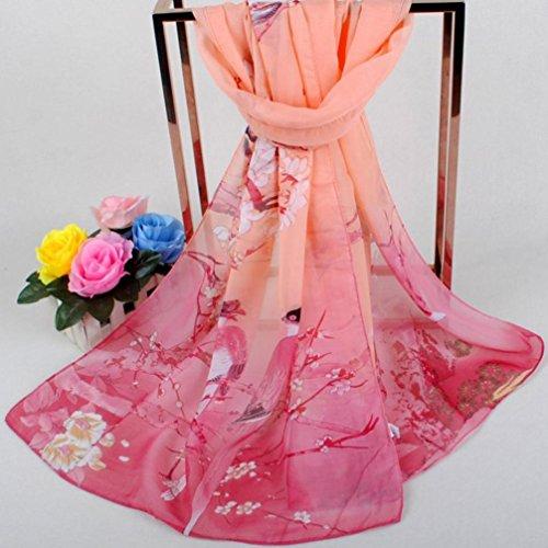 di Sciarpe chiffon di stampato di sciarpe eleganti donne rosa moda Adeshop di casuali di di morbido eleganti Sciarpa delle scialle dell'involucro Sciarpe wOqIf0a
