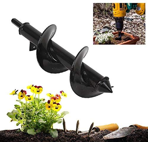 Boddenly Planting Machine Spiral Drill bit, Plantation Auger Drilling Drill bit for Planting Bedding Bulbs Seedlings, Planting & Grass Plug Auger(Black)