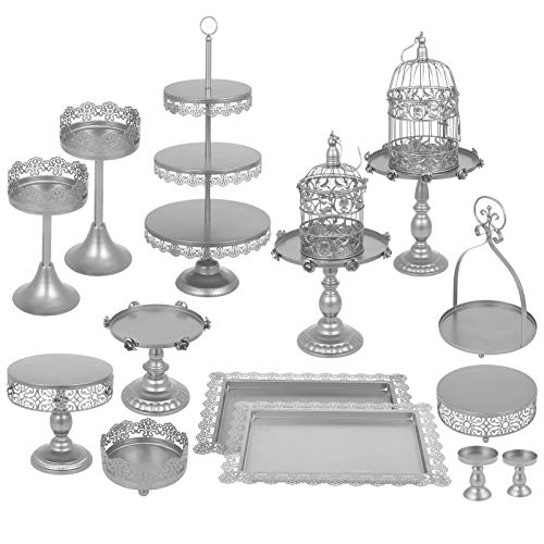 Happybuy Set of 14 Antique Metal Cake Stand Set 3-Tier Tower Cake Plate Cupcake Base Basket Dessert Cage Cupcake Stands Pastry Cake Holder for Wedding Birthday Party (14PCS, Silver) (Silver Basket Cake)
