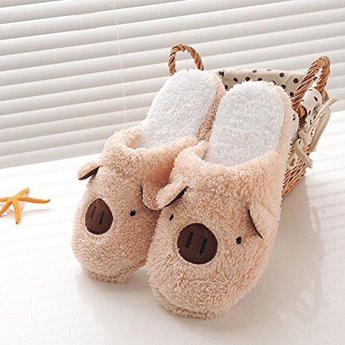 Herbst Winter Damen Hausschuhe,Schöne Schwein nach Hause Fußboden weicher Streifen Pantoffeln Damen Schuhe Kaffee