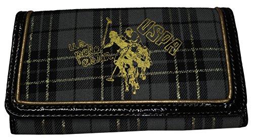 U.S. Polo Assn. Women's Festive Plaid Wallet, Black/Gray