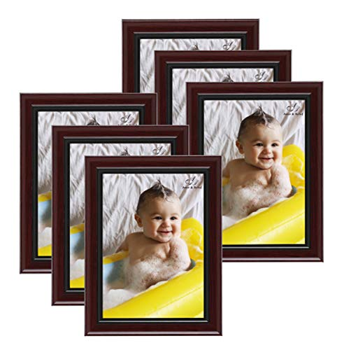 Amistad Mahogany 5x7 Collage Picture Frame 6 Pack, Gallery Frames, Ideal for Baby/Wedding/Travel/Pet Photo