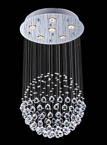 Saint Mossi Chandelier Modern K9 Crystal Raindrop Chandelier Lighting Flush mount LED Ceiling Light Fixture Pendant Lamp for Dining Room Bathroom Bedroom Livingroom 6 GU10 LED Bulbs Required H32 X D18 by Saint Mossi