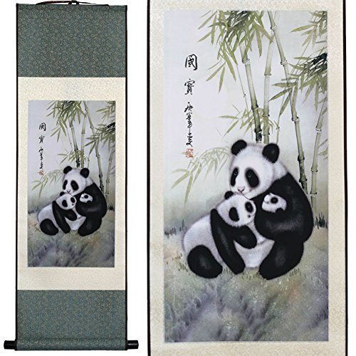 Calligraphy Hanging Artwork (Panda and Bamboo)