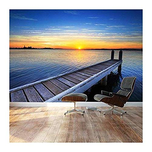 Large Wall Mural Peaceful Scenery Landscape Calm Wood Pier at Sunset Vinyl Wallpaper Removable Decorating