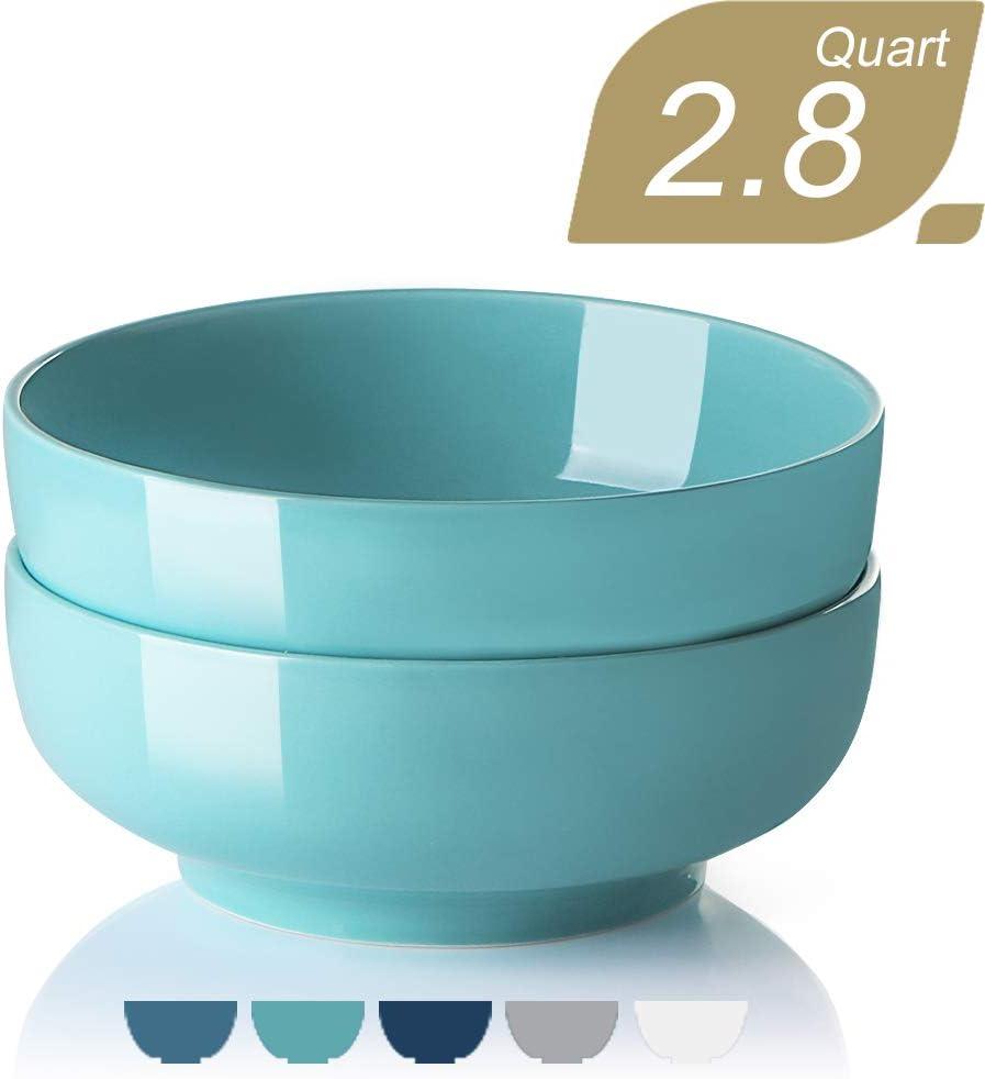 SWEEJAR 90 Oz Porcelain Bowls for Salad Soup Pasta fruit, 2.8 Quarts Serving Bowls for Family Party, Round Stackable Bowls for Kitchen, Set of 2 (Turquoise)