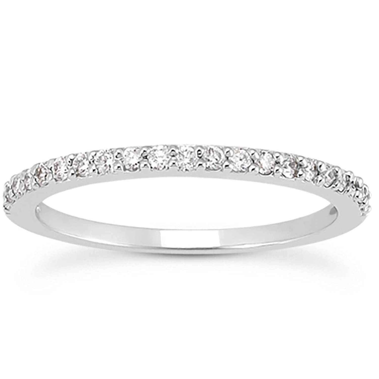 Amazon.com: AGS Certified 1/4 Carat TW White Diamond Band in 10K ...