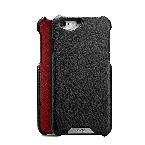 Vaja Grip Premium Leather Case for iPhone 6/6s Plus - Hard Polycarbonate frame - Floater Black & Rosso