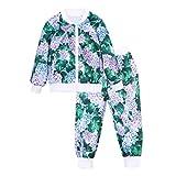 Little Kids Autumn Sweatshirt Sets,Jchen(TM) Toddler Child Floral Sport Tracksuit Outfits Little Boys Girls Long Sleeve Zipper Tops Coat Pants Set for 1-8 Y (Age: 2-3 T, Mint Green)