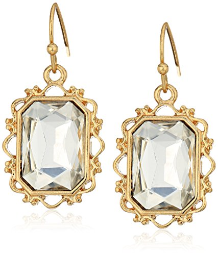 1928 Jewelry Gold-Tone Crystal Rectangle Faceted Drop Earrings