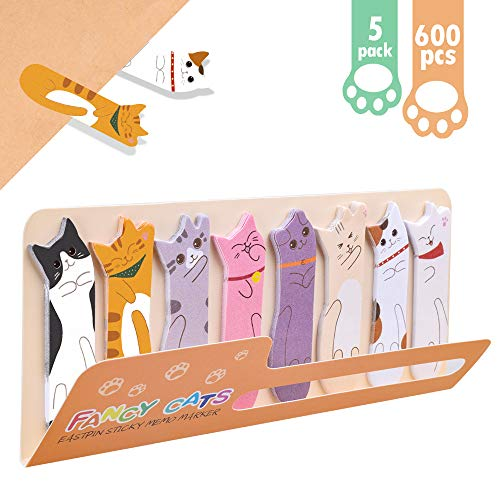 Cute Sticky Notes, 600 pcs (5 Pack) Sticky Tabs Cat Bookmark Notepads Cat Gifts for Cat Lovers Women, Cat Stationary Sticky Notes Cute Office Supplies Cute School Supplies Book Markers for Girls