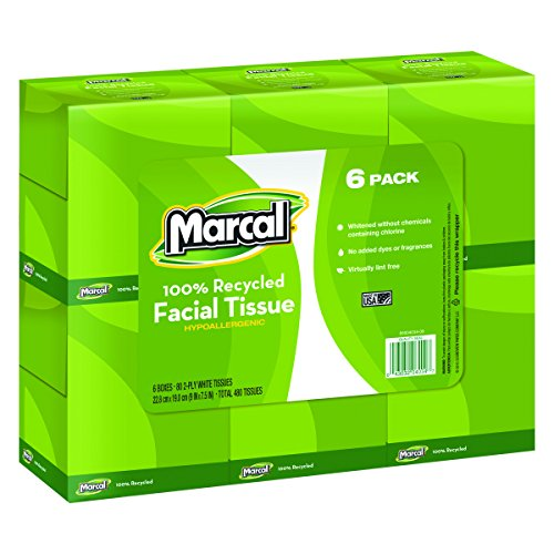 - Marcal Facial Tissue, 100% Recycled 2-Ply, White, Soft Facial Tissue Paper - 80 Tissues per Cube, 36 Cubes Per Case - Bulk Office Tissue Paper Boxes 04034