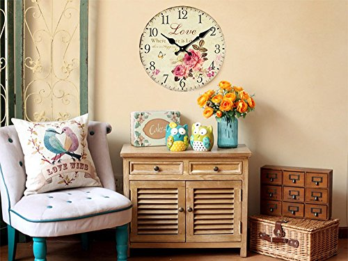 Romantic Roses Clock, 12 Eruner Country Floral Wall Clock *Love* Wooden Art Decor Non-Ticking Home Decoration C-62