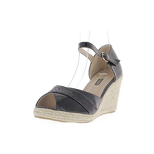 Zapatillas de Cuña Negro a Tacones de 8cm con Reborde Ancho con Lentejuelas: Amazon.es: Zapatos y complementos