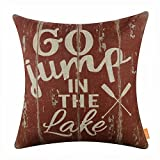 LINKWELL 18x18 inches Vintage Go Jump in the Lake Burlap Throw Pillowcase Cushion Cover (CC1496)