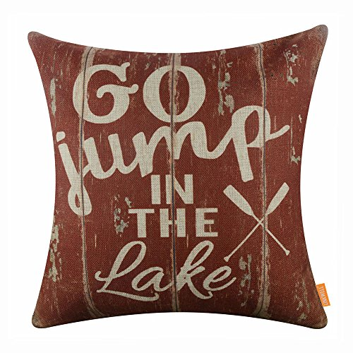LINKWELL 18x18 inches Vintage Go Jump in The Lake Burlap Throw Pillowcase Cushion Cover (CC1496) (The Lake In Jump Go)