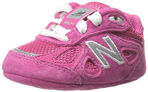 NEW BALANCE - Fuchsia Schuh für die Wiege mit Schnürsenkel, aus Wildleder und Synthetik, seitlich ein weißes Logo und Stoffsohle, Mädchen Pink/Pink