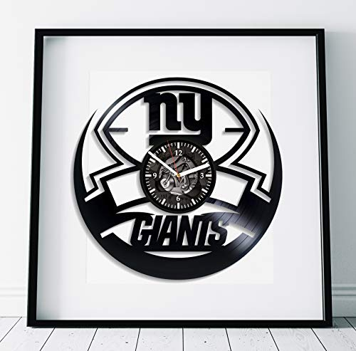 Kovides New York Giants Room Art Lp Retro Vinyl Record Wall Clock Large American Football Clock Handmade Art Sport Gift New York Giants Art Birthday Gift Idea for Boy Sport Art Wall Clock Vintage