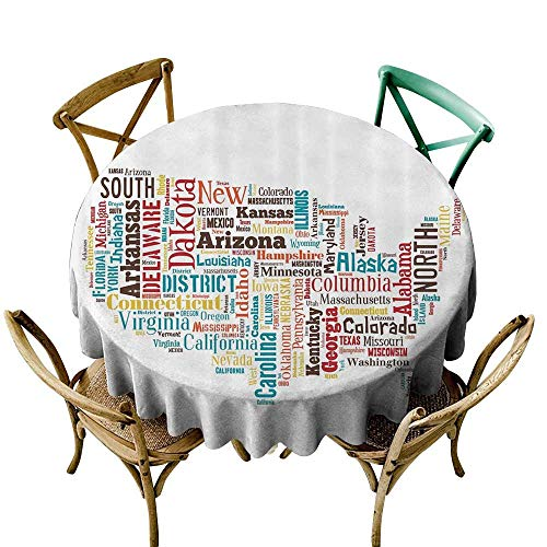 Restaurant Table Cover Americana for Home Decorations Collection,USA United States America Map Cities and Towns California Missouri Virginia,Teal Brown Yellow D70,Table in Washable Polyester -