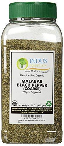 Indus Organics Malabar Black Pepper Coarse, 1 Lb Jar, Premium Grade, High Purity, Freshly Packed