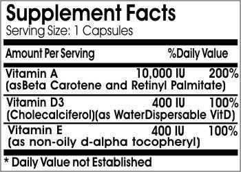 Vitamin A 10,000IU, D3 400IU & E 400IU Emulsified Dry ~ 200 Capsules - No Additives ~ Naturetition Supplements
